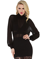 Fashion Women's Fluoroscopy Gauze Splice Turtleneck Long Sleeve Black Chiffon Shirt Blouse Tops