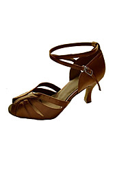 Non Customizable Women's Dance Shoes Satin Satin Latin Sandals / Heels Stiletto HeelPractice / Beginner / Professional / Indoor /