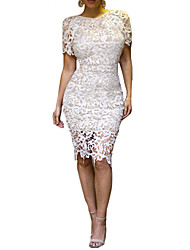 Women's White Lace Round Collar Cutout Long Bodycon Dress