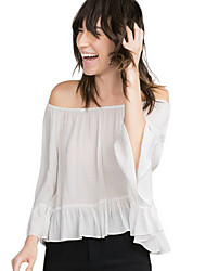 Women's Solid White Blouse , Off Shoulder Long Sleeve