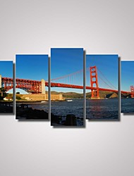 5 Panels Golden Gate Bridge Picture Print  Modern Wall Art on Canvas Unframed