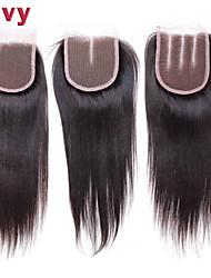 8 Noir Droit (Straight) Cheveux humains Fermeture Beige Dentelle Suisse 0.03 gramme Cap Taille