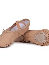 Non Customizable Women's Dance Shoes Ballet Canvas Flat Heel Beige