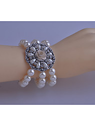 Korean Fashion  Drill Pearl Disc Flowers Bracelet