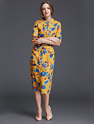Women's Casual / Day Patchwork A Line Dress , Stand Knee-length Linen
