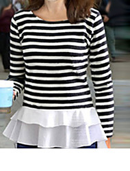 Women's Striped / Patchwork White Blouse , Round Neck Long Sleeve