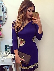 Women's Hot Sale Patchwork Hollow Out Lace Vintage Bodycon Round Neck Long Sleeve Dress