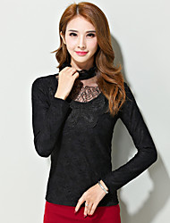 Women's Solid / Lace White / Black OL Style Slim Blouse , Turtleneck Long Sleeve