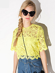 Women's Solid Yellow Blouse , Round Neck Short Sleeve