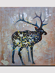 Hand-Painted Abstract Lovely Animal Modern Deerlet Oil Painting , Canvas One Panel Ready to Hang 100x100cm