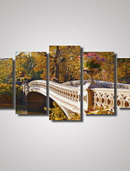 5 Panels Park Landscape with a Stone Bridge  Picture Print Modern Wall Art on Canvas Unframed