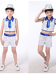 Jazz Outfits Children's Performance Sequined Sequins 2 Pieces Blue