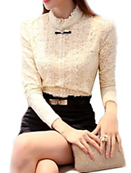 Women's Solid Beige Blouse,Stand Long Sleeve