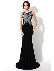 Formal Evening Dress Trumpet / Mermaid Scoop Sweep / Brush Train Satin with Crystal Detailing