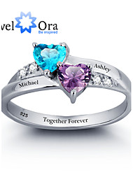 Personalized Double Heart Ring 925 Sterling Silver Classic Cubic Zirconia Ring For Women