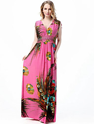 Women's Beach Plus Size / Swing Dress,Floral Deep V Maxi Sleeveless Multi-color Polyester Spring