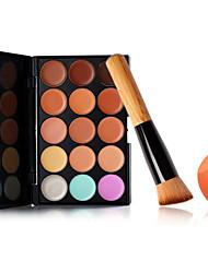 15 Colors Facial Concealer Palette+Foundation Oblique Brush+Beauty Makeup Foundation Egg Puff(Assorted Sets)