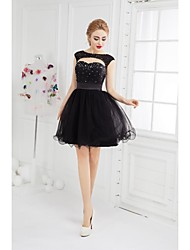 Robe à billes scoop neck short / mini tulle cocktail robe de soirée avec perles