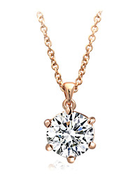 Concise 18k Rose Gold Plated with 6 Prongs 1cm 2.5ct Clear Cz Diamond Pendant Necklace
