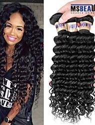 """3 unidades / lote 8 """"-30"""" 6a brasileiras virgens extensões de cabelo de onda profunda 100% cabelo humano virgem não transformados tece"""