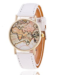 Unisex World Map Style Watch/Vintage World Map Women Premium Faux Leather Wristwatch Cool Watches Unique Watches Fashion Watch
