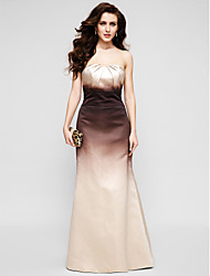 Mermaid / Trumpet Strapless Floor Length Satin Prom Formal Evening Dress with Pleats by TS Couture®