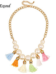 D Exceed Free Shipping Statement Necklace Jewelry for Women Faux Pearl Mixed Color Tassel Choker Necklace