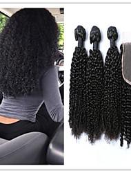 4pcs / lot Vente en gros non transformés brésilienne de cheveux de vierge de pas cher tisse afro crépus bouclés fermeture en haut à