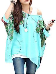 Mulheres Blusa Decote Cigano Manga ¾ Chifon Mulheres