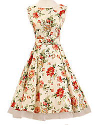 Women's Halter 50s Vintage Flower Print Rockabilly Sleeveless Dress(Not Include Petticoat)