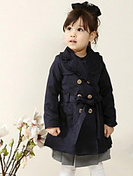 Girl's Spring/Fall Cotton Long  Long sections Tailored Collar Trench Coat