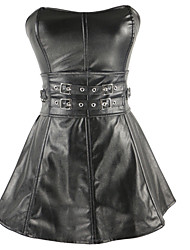 Women Corset Dresses Nightwear,Sexy / Push-Up Solid Patent Leather Black Women's