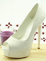 Women's Wedding Shoes Heels / Peep Toe Sandals Wedding / Dress White
