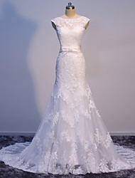 Trumpet / Mermaid Wedding Dress Beautiful Back Sweep / Brush Train Bateau Satin Tulle with Appliques Bow
