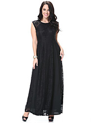 Women's Beach Plus Size / Lace Dress,Solid Round Neck Maxi Sleeveless Black Polyester Spring