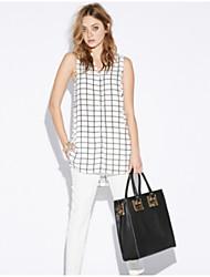 Women's Striped White Blouse , Round Neck Sleeveless