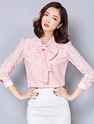 Women's Lace Plus Sizes Blue / Pink / White Blouse , Bow Long Sleeve