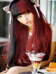 Japan and South Korea Version of Foreign Trade Faces a Wig Curly Hair Neat Bang Mixed Color Wig