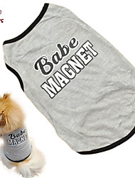 Cat / Dog Shirt / T-Shirt Gray Dog Clothes Summer Letter & Number Wedding / Cosplay / Holiday / Fashion