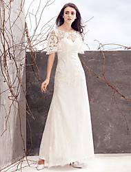 Lanting Bride Sheath/Column Wedding Dress-Ankle-length Scoop Lace