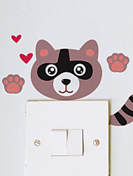Wall Stickers Wall Decals Style Cartoon Cat Switch Waterproof Removable PVC Wall Stickers