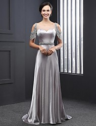 Formal Evening Dress A-line Jewel Sweep / Brush Train Satin with Beading