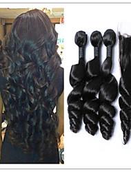 4pcs / lot cabelo virgem onda solta pacotes de tecer cabelo humano malaias com fechamento superior do laço, não transformados nenhum