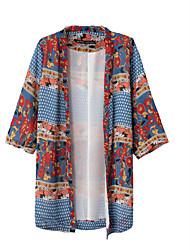 Women's Print Blue Shirt , Halter ¾ Sleeve