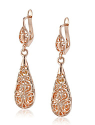 HKTC Vintage Nickel Free 18k Rose Gold Plated Vine Hollow Pattern Teardrop Earrings
