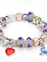 Fashion 925 Sterling Silver Murano Glass Crystal European Charm Beads Fits Strand Beads heart Charm Bracelets BLH008