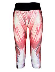 Yoga Pants 3/4 calças justas Compressão Natural Stretchy Wear Sports Vermelho Unissexo Outros Ioga / Fitness