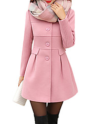 Women's Vintage Coat,Solid Long Sleeve Winter Pink / Red / Green / Orange Others Thick
