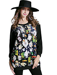 Women's Patchwork White / Black Blouse , Round Neck Long Sleeve