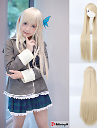 Long Straight Hair European Weave Light Blonde Hair Cosplay Wig